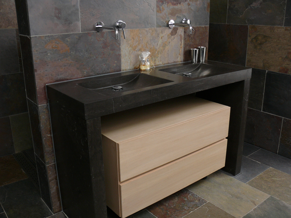 Wij leveren natuursteen wasbakken tegels badkamermeubels - Badkamermeubels steen ...
